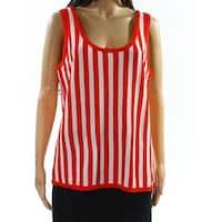 Anne Klein Tomato Red White Womens Size Medium M Striped Tank Top