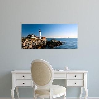 Easy Art Prints Panoramic Images's 'Portland Head Lighthouse, Ram Island Ledge Light, Portland, Maine' Canvas Art