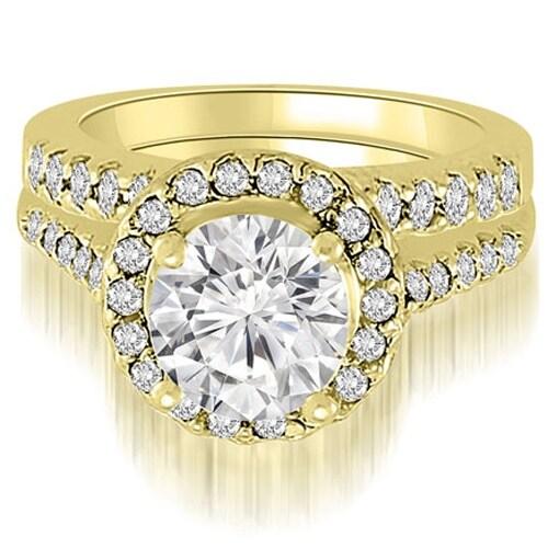 1.42 cttw. 14K Yellow Gold Halo Round Cut Diamond Bridal Set