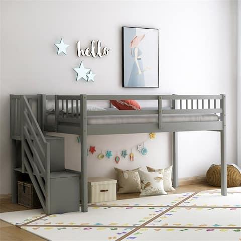 Floor loft Bed, Ladder with Storage, Twin Size