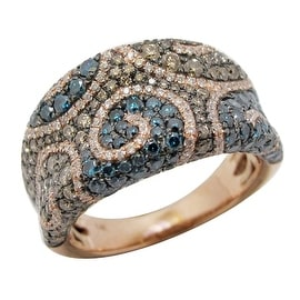 Amazing 2.01 Carat Multi Color Diamond Gigantic Ring, 14k Rose Gold
