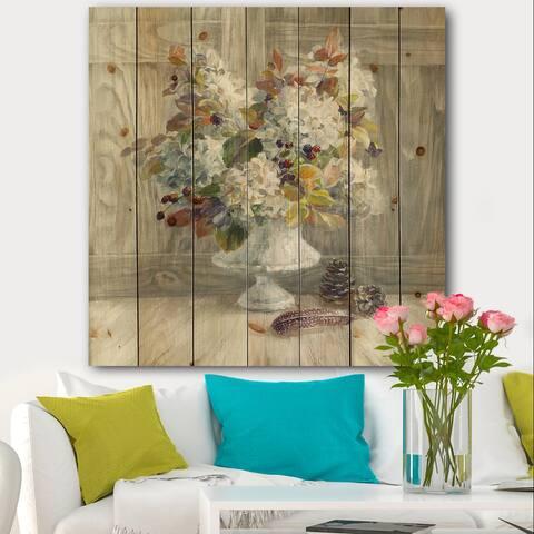 Designart 'Rustic Florals White' Cabin & Lodge Print on Natural Pine Wood - Grey