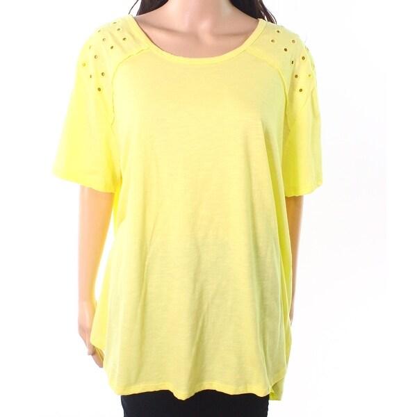 Neon Buddha Yellow Womens Size 2X Plus Eylet Scoop Neck Knit Top