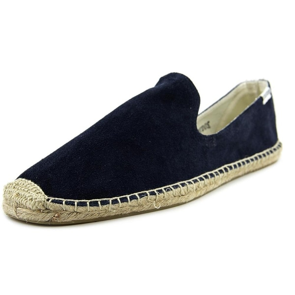 Soludos Smoking Slipper Men Round Toe Suede Blue Espadrille