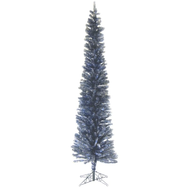7.5' Blue & Gold Pencil Tinsel Artificial Christmas Tree
