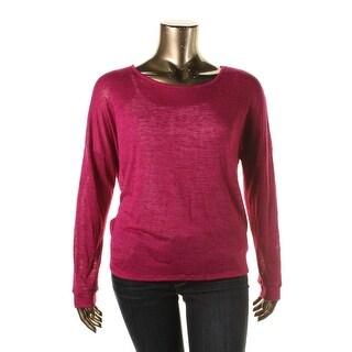 Energie Womens Juniors Slub Lace Back Pullover Top