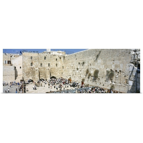 Shop Crowd praying in front of a stone wall Wailing Wall