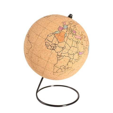 Gift Republic Color Your Own Globe Kit- Cork Desk Accessory with 5 Markers - 7.75 in.