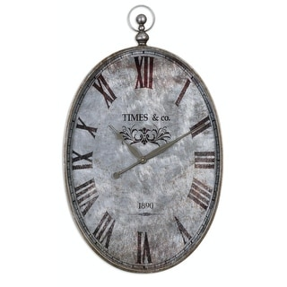 "34.5"" Dario Antique Style Pocket Watch Wall Clock with Brushed Aluminum Face"