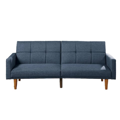 Fabric Adjustable Sofa with Square Tufted Back, Blue