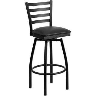 "Dyersburg 32"" High Black Ladder Back Swivel Metal Barstool, Black Vinyl Seat"