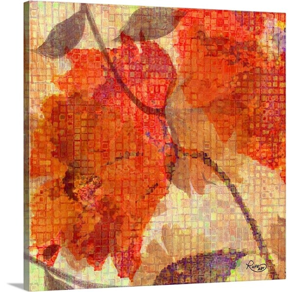 """Orange Abstract Floral"" Canvas Wall Art"