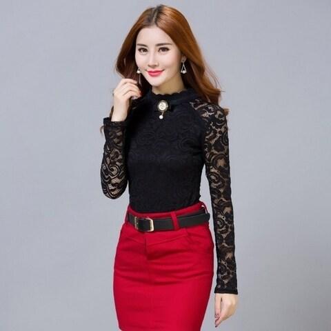 Women's Fashion Sheer Long Sleeve Embroidery Lace Crochet Chiffon Shirt Blouses Tops