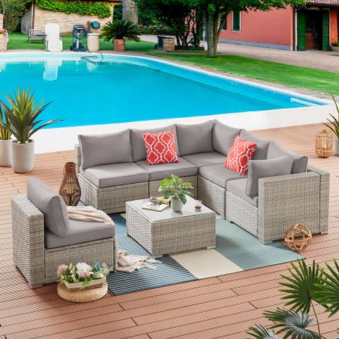 7 Pieces Patio Sectional PE Rattan Sofa Set, Outdoor Furniture Set with 6 Sand Seat Cushions and 1 Glass Tea Table