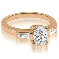 1.25 cttw. 14K Rose Gold Oval and Baguette Three Stone Diamond Engagement Ring