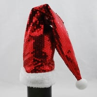 """21"""" Red Sequined Santa Claus Hat Wine Bottle Cover with Faux Fur Cuff"""