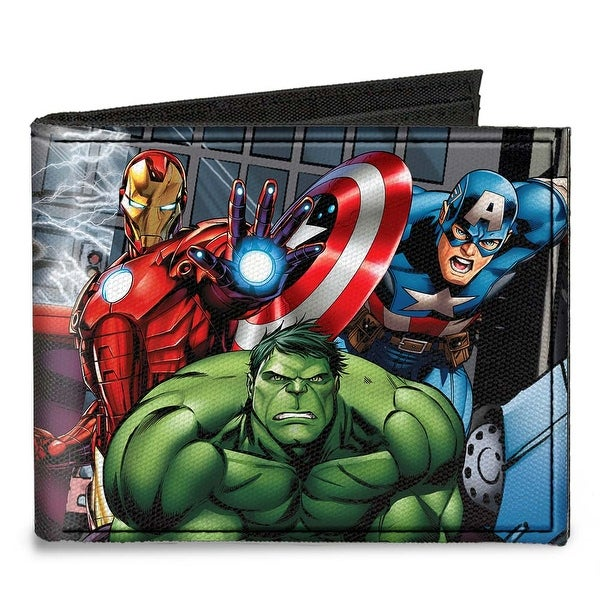 Marvel Avengers Superhero Action Poses Canvas Bi Fold Wallet One Size - One Size Fits most
