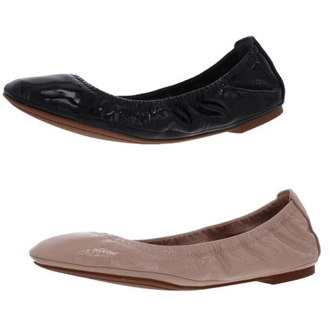 Tory Burch Women's Eddie Patent Leather Almond Toe Slip On Ballet Flats