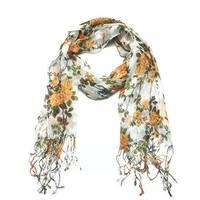 Women's Fashion Floral Soft Wraps Scarves - F1 Orange - Large