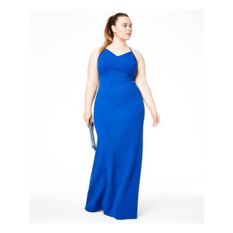 B DARLIN Blue Spaghetti Strap Full-Length Dress 24W