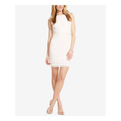 AMERICAN LIVING Ivory Sleeveless Mini Sheath Dress Size 14