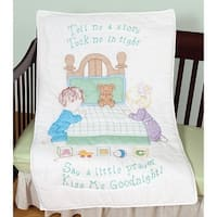"Stamped White Quilt Crib Top 40""X60""-Kiss Me Goodnight"