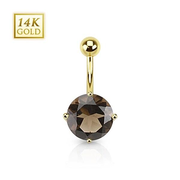 14 Karat Solid Yellow Gold Smoky Quartz Gemstone Round Prong Set Navel Belly Button Ring