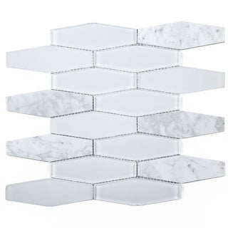 Link to TileGen. Long Hexagon Mosaic Tile in White Wall Tile (10 sheets/10.4sqft.) Similar Items in Tile
