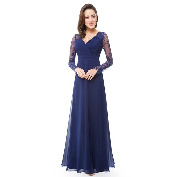 Ever-Pretty Womens Elegant V-Neck Long Sleeve Evening Party Dress 08692