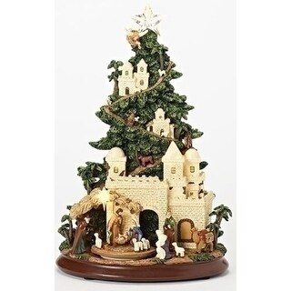 """Set of 2 Musical LED Nativity Tree With Triple Rotation Decorative Figurine 13"""" - brown"""