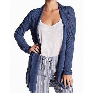 Nic + Zoe NEW Blue Women Size Medium M Knit Open Front Cardigan Sweater