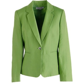 Tahari ASL Womens Michelle Linen Notch Collar One-Button Blazer