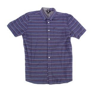 Volcom Blue Mens Size XL Modern Fit Button Down Striped Pocket Shirt