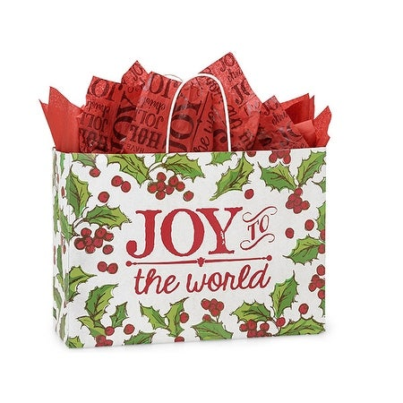 """Pack of 25, Vogue Holly Berry Tidings Paper Bag 16 x 6 x 12"""" For Christmas Packaging, 100% Recyclable,"""