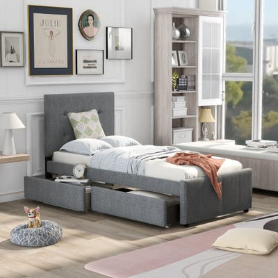 Nestfair Modern Linen Upholstered Platform Bed With Headboard and Two Drawers