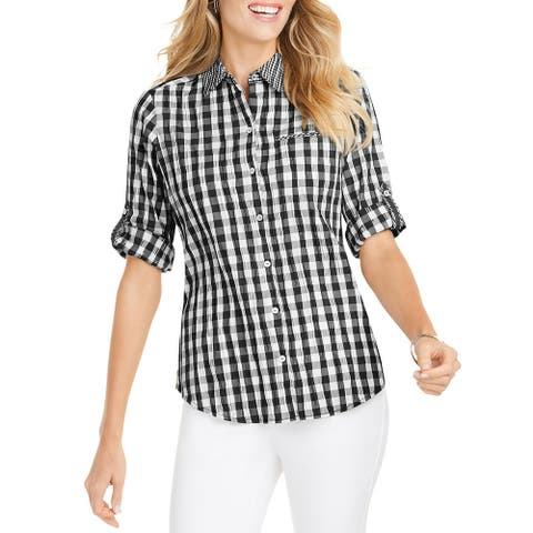 Foxcroft Womens Reese Button-Down Top Crinkled Gingham - Black