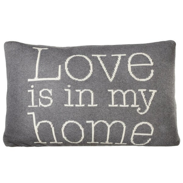 "24"" Gray and White ""Love is in My Home"" Quoted Printed Rectangular Throw Pillow"