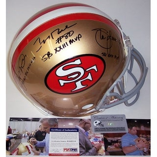 Joe Montana, Jerry Rice & Steve Young Autographed Hand Signed San Francisco 49ers Throwback Authentic Helmet - PSA/DNA