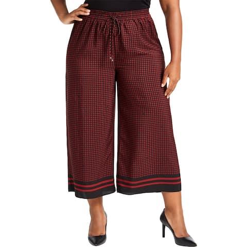 MICHAEL Michael Kors Womens Plus Wide Leg Pants Dot Patterned Cropped - Black
