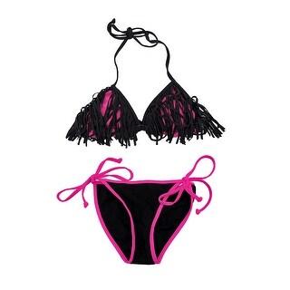 Black and Hot Pink Fringed Triangle Top String Bikini