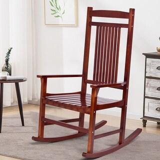 Costway Solid Wood Porch Rocking Chair Rocker Indoor Outdoor Patio Backyard Furniture
