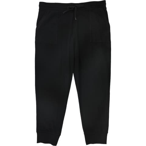 DKNY Womens Pull On Athletic Jogger Pants, black, X-Large