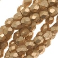 Czech Fire Polished Glass Beads 3mm Round Matte Metallic Gold (50) - Thumbnail 0