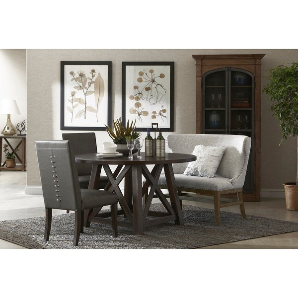 Round Dark Oak Dining Table with X-cross Sides. Opens flyout.