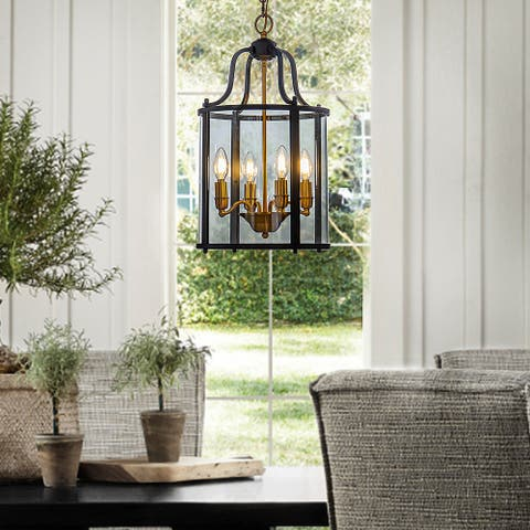 4-Lights Glass Lantern Black Chandelier with Antique Bronze Candlestick Ceiling Lighting Fixture - 12
