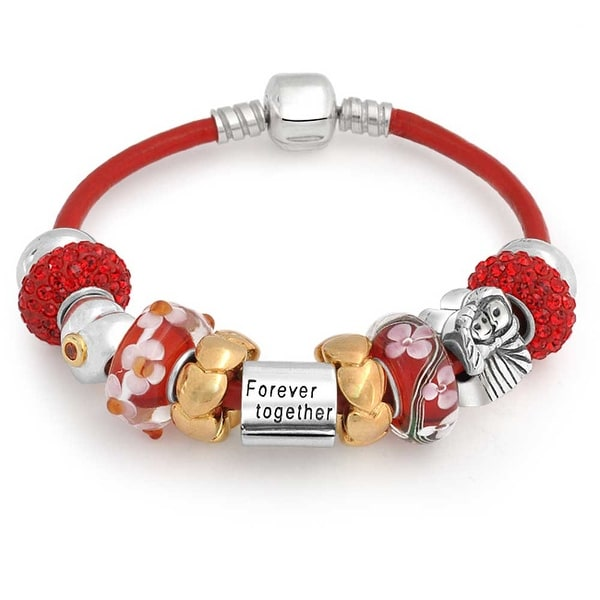 Couples Together Forever Multi European Bead Charms Bracelet Red Genuine Leather For Women Sterling Silver Barrel Clasp