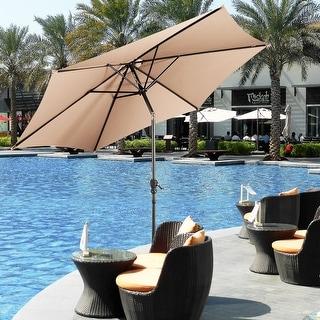 Costway 9FT Patio Umbrella Patio Market Steel Tilt W/ Crank Outdoor