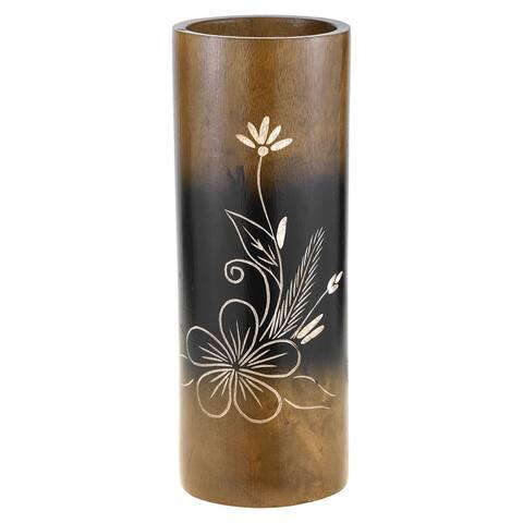 Handmade Flourished Plumeria Flower Brown Cylindrical 8-inch Mango Tree Wood Vase (Thailand)