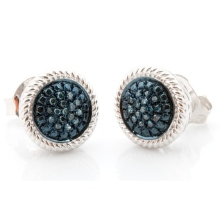 Fabulous Natural Round Brilliant Cut Blue Color Diamond with Diamond Effect Screw Back Cluster Earring