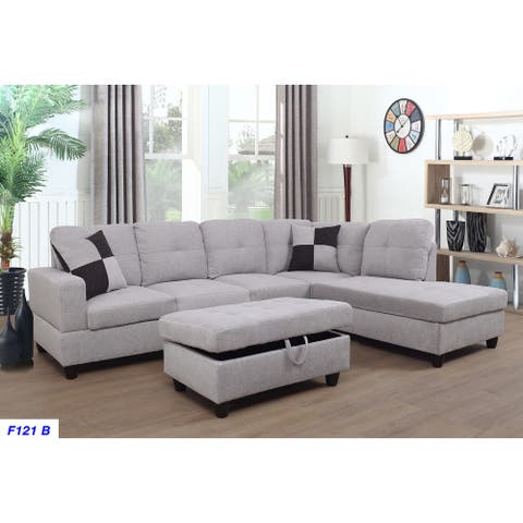3-Pieces Sectional Sofa Set,Right Facing,Grey White Flannelette(121B)